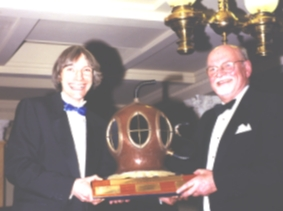 Clive Gardener (left) accepts the award